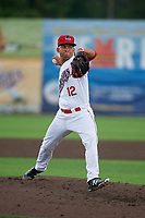 Auburn Doubledays pitcher Rafael Gomez (12) during a NY-Penn League game against the Batavia Muckdogs on September 2, 2019 at Falcon Park in Auburn, New York.  Batavia defeated Auburn 7-0.  (Mike Janes/Four Seam Images)