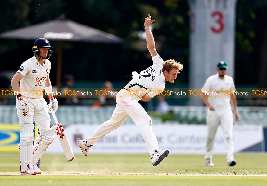 Dillon Pennington bowls for Worcestershire during Kent CCC vs Worcestershire CCC, LV Insurance County Championship Division 3 Cricket at The Spitfire Ground on 6th September 2021