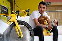 ZIPAQUIRA - COLOMBIA, 07-08-2019: Egan Bernal, ciclista colombiano, durante el homenaje en su ciudad Zipaquirá por el triunfo en el Tour de Francia 2019. / Egan Bernal, Colombian cyclist, during a tribute in his town Zipaquira for his victory in the Tour de France 2019. Photo: VizzorImage / Diego Cuevas / Cont