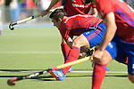 GER - Mannheim, Germany, October 02: During the men hockey match between Mannheimer HC (red) and HTC Uhlenhorst Muehlheim (white) on October 2, 2016 at Mannheimer HC in Mannheim, Germany. Final score 4-4 (HT 1-3). (Photo by Dirk Markgraf / www.265-images.com) *** Local caption *** Gonzalo Peillat #2 of Mannheimer HC