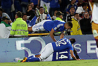 BOGOTÁ -COLOMBIA-28-02-2016.Rafael Robayo  de Millonarios celebra su gol contra el Tolima durante partido por la fecha 7 de Liga Águila I 2016 jugado en el estadio Nemesio Camacho El Campin de Bogotá./ Rafael Robayo  of Millonarios celebrates his goal against of Tolima during the match for the date 7 of the Aguila League I 2016 played at Nemesio Camacho El Campin stadium in Bogota. Photo: VizzorImage / Felipe Caicedo / Staff