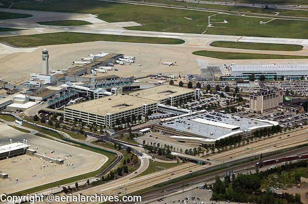 aerial view above Cleveland Hopkins International Airport CLE KCLE Ohio first municipally owned airport first control tower