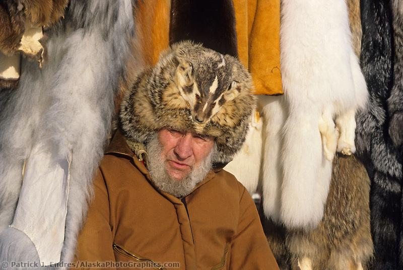 Fur trader sells his animal furs in Fairbanks, Alaska