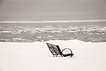 Middle Beach Road. Madison Beach bench in snow.