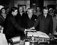 L'assermentation de Paul Gerin-Lajoie, Mai 1969<br /> <br /> <br /> PHOTO : Agence Quebec Presse