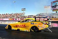 Oct. 28 2011; Las Vegas, NV, USA: NHRA funny car driver Jeff Arend during qualifying for the Big O Tires Nationals at The Strip at Las Vegas Motor Speedway. Mandatory Credit: Mark J. Rebilas-