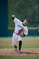 Pittsburgh Pirates pitcher Austin Shields (17) delivers a pitch during an Instructional League game against the Detroit Tigers on October 6, 2017 at Pirate City in Bradenton, Florida.  (Mike Janes/Four Seam Images)