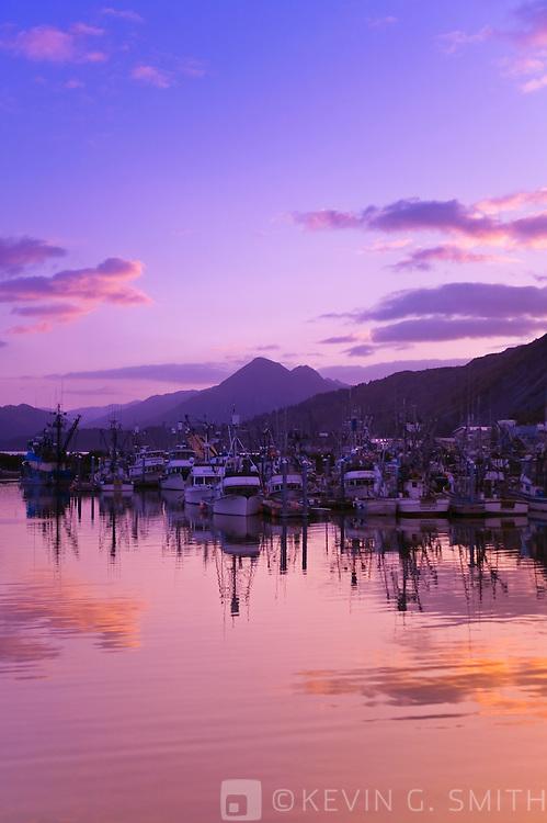Fishing boats at sunset, St. Paul Harbor, fall, Kodiak Alaska, USA