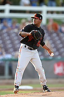 San Jose Giants pitcher Kelvin Marte #25 pitches against the Inland Empire 66'ers at Arrowhead Credit Union Park on July 31, 2011 in San Bernardino,California. San Jose defeated Inland Empire 6-3.(Larry Goren/Four Seam Images)