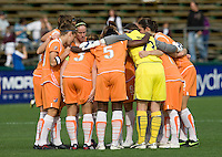 03 May 2009:  Sky Blue FC Starting XI players huddle together just seconds before the game against FC Gold Pride at Buck Shaw Stadium in Santa Clara, California.   FC Gold Pride defeated Sky Blue FC, 1-0.