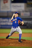 Pitcher Graham Ashcraft (3) of Huntsville High School in Browsboro, Alabama playing for the New York Mets scout team during the East Coast Pro Showcase on July 28, 2015 at George M. Steinbrenner Field in Tampa, Florida.  (Mike Janes/Four Seam Images)