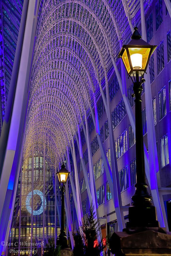 A downtown Toronto Christmas time view at Brookfield Place.