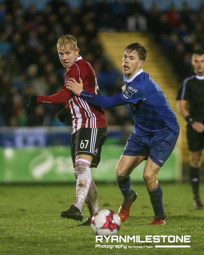 Nicky Low of Derry in action against Garry Comerford of Waterford during the SSE Airtricity League Premier Division game between Waterford FC and Derry City on Friday 16th February 2018 at the RSC Waterford. Photo By: Michael P Ryan