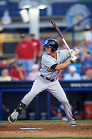 New Britain Rock Cats outfielder Jordan Patterson (9) at bat during a game against the Reading Fightin Phils on August 7, 2015 at FirstEnergy Stadium in Reading, Pennsylvania.  Reading defeated New Britain 4-3 in ten innings.  (Mike Janes/Four Seam Images)