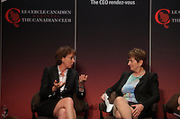 (Left to right) Dominique Anglade, Isabelle Courville, Madeleine Chenette, Marie-Line Beauchamps, Isabelle Hudon participate in a  panel about Leadership hosted by the Canadian Club of Montreal.<br /> <br /> IN PHOTO : Isabelle Courville (L), Madeleine Chenette,  (R)<br /> <br /> Photo : Agence Quebec Presse - Pierre Roussel