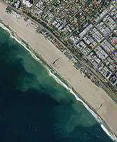 aerial photo map of Santa Monica beach, Los Angeles County, California, 2006.  For a more recent photo map, please contact Aerial Archives