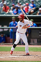 Memphis Redbirds right fielder Nick Martini (16) at bat during a game against the Iowa Cubs on May 29, 2017 at AutoZone Park in Memphis, Tennessee.  Memphis defeated Iowa 6-5.  (Mike Janes/Four Seam Images)