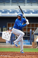 Dunedin Blue Jays shortstop Richard Urena (7) at bat during a game against the Charlotte Stone Crabs on July 26, 2015 at Charlotte Sports Park in Port Charlotte, Florida.  Charlotte defeated Dunedin 2-1 in ten innings.  (Mike Janes/Four Seam Images)