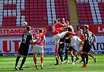 Fussball - 3.Bundesliga - Saison 2020/21<br /> Kaiserslautern -  Fritz-Walter-Stadion 03.04.2021<br /> 1. FC Kaiserslautern (fck)  - FC Halle (hal)<br /> 2:1 per Kopfball durch Kevin KRAUS (1. FC Kaiserslautern),<br /> Nr.5<br /> <br /> Foto © PIX-Sportfotos *** Foto ist honorarpflichtig! *** Auf Anfrage in hoeherer Qualitaet/Aufloesung. Belegexemplar erbeten. Veroeffentlichung ausschliesslich fuer journalistisch-publizistische Zwecke. For editorial use only. DFL regulations prohibit any use of photographs as image sequences and/or quasi-video.