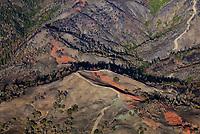 Aerial photograph of rire retardant Kincade wildfire, Mayacamas Mountains, Sonoma County, California