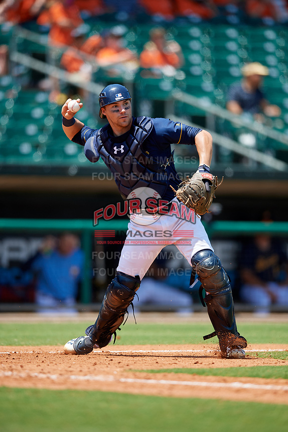 Montgomery Biscuits catcher Brett Sullivan (7) throws to first base during a game against the Biloxi Shuckers on May 8, 2018 at Montgomery Riverwalk Stadium in Montgomery, Alabama.  Montgomery defeated Biloxi 10-5.  (Mike Janes/Four Seam Images)