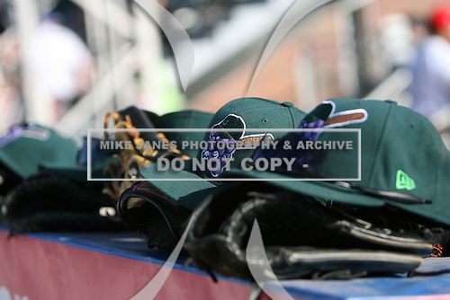 Jamestown Jammers hats and gloves during a game vs. the Mahoning Valley Scrappers at Russell Diethrick Park in Jamestown, New York June 20, 2010.   Mahoning Valley defeated Jamestown 9-2.  Photo By Mike Janes/Four Seam Images