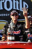Aug. 7, 2011; Kent, WA, USA; NHRA pro stock driver Jason Line celebrates after winning the Northwest Nationals at Pacific Raceways. Mandatory Credit: Mark J. Rebilas-