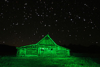 Old wooden Barn at night with stars, Antelope Flats, Grand Teton NP,Wyoming, USA