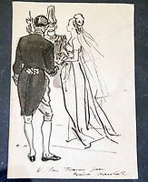 BNPS.co.uk (01202 558833)<br /> Pic: PhilYeomans/BNPS<br /> <br /> Sketched note to Thomas from Norman Hartnell.<br /> <br /> A remarkable 'time warp' Royal archive amassed by the Queen's dressmaker has been found inside his old country home.<br /> <br /> The late Ian Thomas was a dress designer for members of the Royal Family, including Her Majesty, for over 30 years.<br /> <br /> As an apprentice he worked alongside the renowned fashion designer Norman Hartnell on creating the Queen's coronation dress in 1953.<br /> <br /> His archive includes embroidered samples of the gown worn by Elizabeth II for the historic ceremony in Westminster Abbey that was broadcast to millions.<br /> <br /> Mr Thomas also designed outfits for the Queen Mother and Princess Margaret.