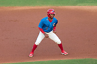 Clearwater Threshers Luis García (5) leads off first base during a game against the Lakeland Flying Tigers on May 5, 2021 at BayCare Ballpark in Clearwater, Florida.  (Mike Janes/Four Seam Images)