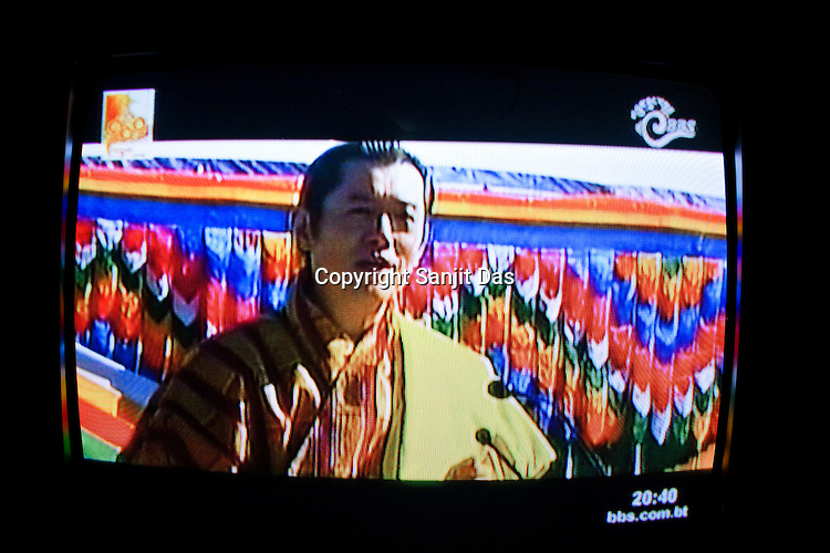 Television was used by the political parties for wider coverage of the electoral campaign, here the Bhutanese King Jigme Khesar Namgyel Wangchuck speaks on National television. The Bhutanese people elected the remote Himalayan nation's first democratic government when it voted for a National Assembly on March 24, 2008, in a landmark vote proposed by the royal family to peacefully transform the small Buddhist kingdom into a constitutional monarchy.
