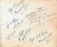 BNPS.co.uk (01202) 558833. <br /> Pic: ChaucerAuctions/BNPS<br /> <br /> A poignant autograph book containing the signatures of over 230 Bomber Command heroes has emerged for sale for £10,000.<br /> <br /> They were collected by nine year old Suffolk schoolboy Raymond Spalding who idolised the fearless World War Two aircrew.<br /> <br /> He visited his local RAF bases at Mildenhall and Lakenheath on numerous occasions between March 1941 and November 1942.<br /> <br /> Tragically, the casualty rate was so high that 89 of the signees were killed in action during the conflict, with over a dozen others taken as PoWs.
