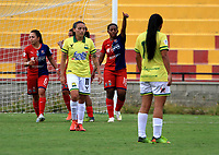 BUCARAMANGA- COLOMBIA, 23-10-2020: Atletico Bucaramanga y Deportivo Independiente Medellin durante partido por la fecha 2 de la Liga Femenina BetPlay DIMAYOR 2020 jugado en el estadio Alfonso Lopez en la ciudad de Bucaramanga. / Atletico Bucaramanga and Deportivo Independiente Medellin during a match for the 2nd date of the Women's League BetPlay DIMAYOR 2020 played at the Alfonso Lopez stadium in Bucaramanga city. / Photo: VizzorImage / Jaime Moreno / Cont.