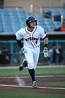 Garrett Hampson (3) of the Lancaster JetHawks runs to first base during a game against the San Jose Giants at The Hanger on April 10, 2017 in Lancaster, California. Lancaster defeated San Jose 11-7. (Larry Goren/Four Seam Images)