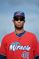 Fort Myers Miracle pitcher Johan Quezada (45) during introductions before a Florida State League game against the Charlotte Stone Crabs on April 6, 2019 at Charlotte Sports Park in Port Charlotte, Florida.  Fort Myers defeated Charlotte 7-4.  (Mike Janes/Four Seam Images)