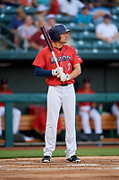 Jacksonville Jumbo Shrimp right fielder Cade Gotta (9) at bat during a game against the Biloxi Shuckers on June 8, 2018 at Baseball Grounds of Jacksonville in Jacksonville, Florida.  Biloxi defeated Jacksonville 5-3.  (Mike Janes/Four Seam Images)