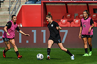 BRIDGEVIEW, IL - JULY 18: Morgan Gautrat #13 of the Chicago Red Stars warms up before a game between OL Reign and Chicago Red Stars at SeatGeek Stadium on July 18, 2021 in Bridgeview, Illinois.