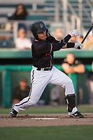 Modesto Nuts shortstop Bryson Brigman (8) follows through on his swing during a California League game against the Lake Elsinore Storm at John Thurman Field on May 11, 2018 in Modesto, California. Modesto defeated Lake Elsinore 3-1. (Zachary Lucy/Four Seam Images)