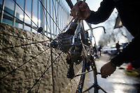 111th Paris-Roubaix 2013..dirty dustbikes need some serious cleaning by mechanic Steven Van Olmen.