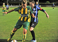 20130906 - VARSENARE , BELGIUM : ADO's Kitty Susan pictured protecting the ball for Brugge's Christine Saelens during the female soccer match between Club Brugge Vrouwen and ADO DEN HAAG Dames , of the third matchday in the BENELEAGUE competition. Friday 06 th September 2013. PHOTO JOKE VUYLSTEKE