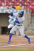 South Bend Cubs left fielder Roberto Caro (18) swings at pitch against the Cedar Rapids Kernels at Veterans Memorial Stadium on May 1, 2018 in Cedar Rapids, Iowa.  (Dennis Hubbard/Four Seam Images)
