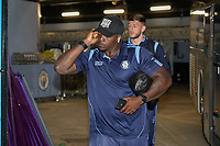 Adebayo Akinfenwa of Wycombe Wanderers arrives for the Carabao Cup match between Manchester City and Wycombe Wanderers at the Etihad Stadium, Manchester, England on 21 September 2021. Photo by David Horn.