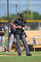 Umpire Chase Eubanks during a game between the FCL Yankees and FCL Tigers West on July 31, 2021 at Tigertown in Lakeland, Florida.  (Mike Janes/Four Seam Images)