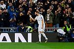Karim Benzema of Real Madrid celebrates goal during UEFA Champions League match between Real Madrid and Paris Saint-Germain FC at Santiago Bernabeu Stadium in Madrid, Spain. November 26, 2019. (ALTERPHOTOS/A. Perez Meca)