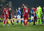 St Johnstone v Aberdeen…..24.11.19   McDiarmid Park   SPFL<br />Callum Hendry is sent off by Referee Kevin Clancy after his tackle on Lewis Ferguson<br />Picture by Graeme Hart.<br />Copyright Perthshire Picture Agency<br />Tel: 01738 623350  Mobile: 07990 594431