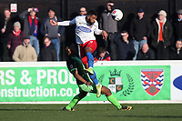 Luke Croll of Dagenham and Nyal Bell of Stockport during Dagenham & Redbridge vs Stockport County, Vanarama National League Football at the Chigwell Construction Stadium on 8th February 2020