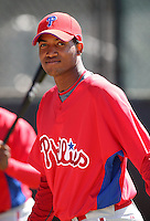 March 30, 2010:  Outfielder Domingo Santana of the Philadelphia Phillies organization during Spring Training at the Carpenter Complex in Clearwater, FL.  Photo By Mike Janes/Four Seam Images
