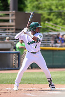 Beloit Snappers outfielder Lester Madden (14) at bat during a Midwest League game against the Cedar Rapids Kernels on June 2, 2019 at Pohlman Field in Beloit, Wisconsin. Beloit defeated Cedar Rapids 6-1. (Brad Krause/Four Seam Images)