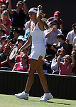 June 24, 2009. Gisela Dulko of Argentina in action, defeating Maria Sharapova of Russia,  her 6-2, 4-6, 6-3 in the second round at the All England Lawn Tennis Club, Wimbledon, England