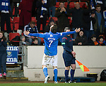 St Johnstone v Dundee United...27.12.14   SPFL<br /> Chris Millar celebrates scoring the winning goal<br /> Picture by Graeme Hart.<br /> Copyright Perthshire Picture Agency<br /> Tel: 01738 623350  Mobile: 07990 594431